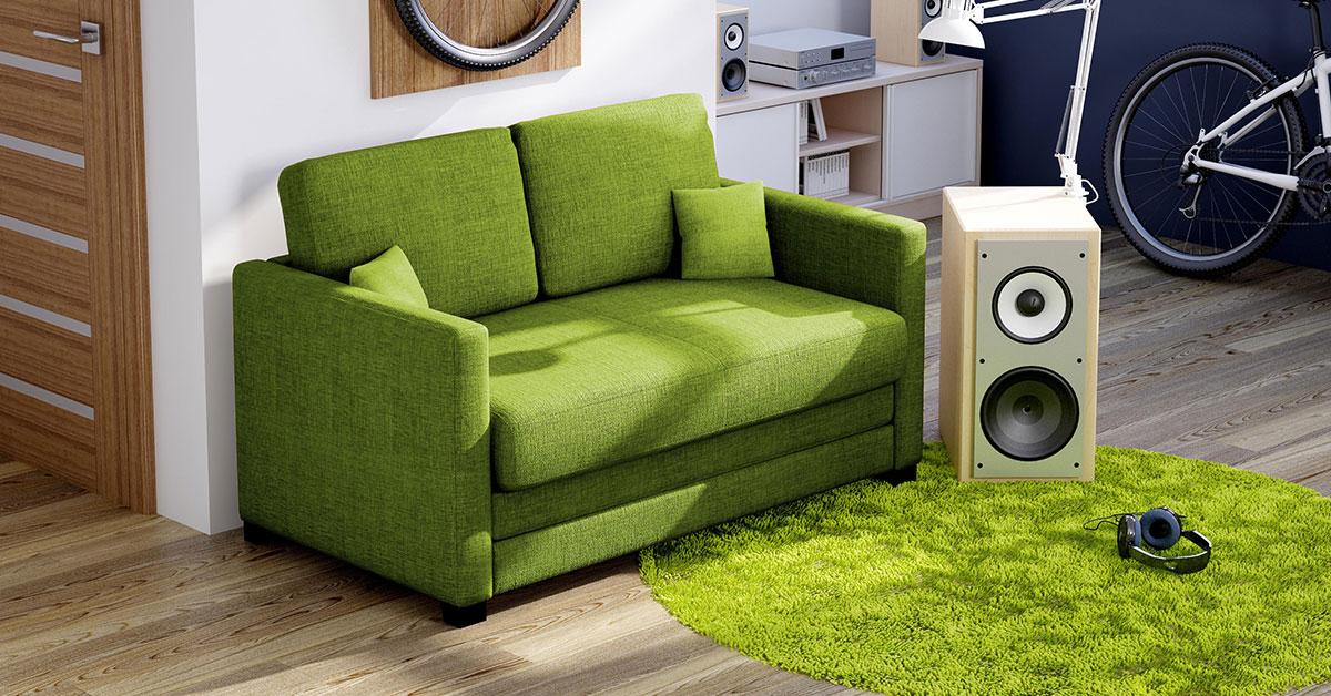Zielona sofa rozkladana do pokoju młodzieżowego