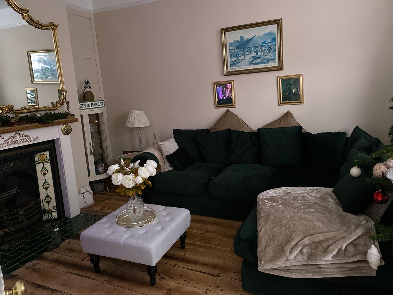 Butelkowy zielona sofa narożna Baron, tkanina welurowa