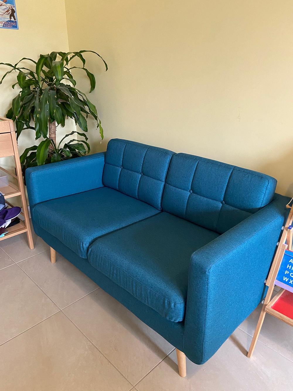 Niebieska sofa trzyosobowa Brest