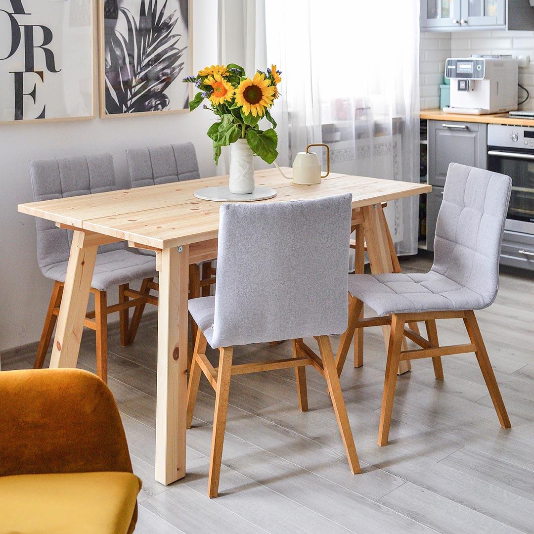 Szare krzesła tapicerowane Fafa